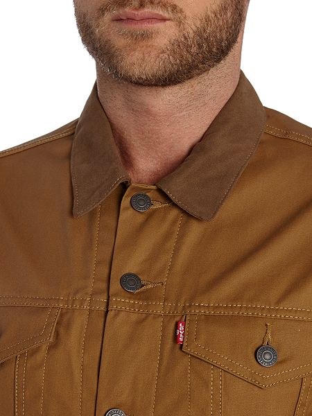 Levi S Waxed Canvas Trucker Jacket Tan House Of Fraser