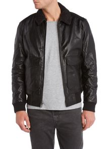 Collared leather flight jacket