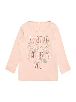 Girls Squirrel graphic print long sleeved top