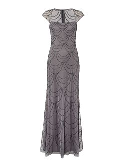Adrianna Papell All over beaded gown with sheer