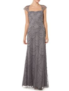 Adrianna Papell All over beaded gown with sheer cap sleeves