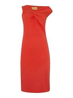 One Shoulder Gathered Neckline Bodycon Dress
