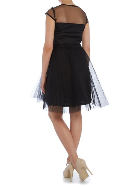 Studio 75 Cap Sleeve Mesh Top Detail Fit and Flare Dress