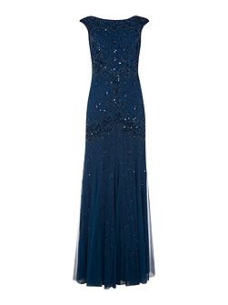 Cap sleeve gown with diamond sequin pattern