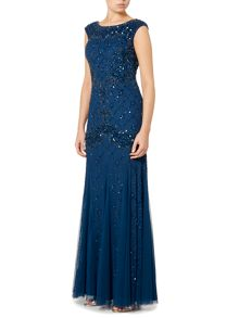 Adrianna Papell Cap sleeve gown with diamond sequin pattern
