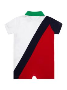 Boys short sleeve banner stripe all in one