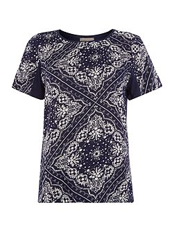 Short Sleeved Square Print Tee