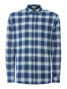 Regular fit large check button down shirt