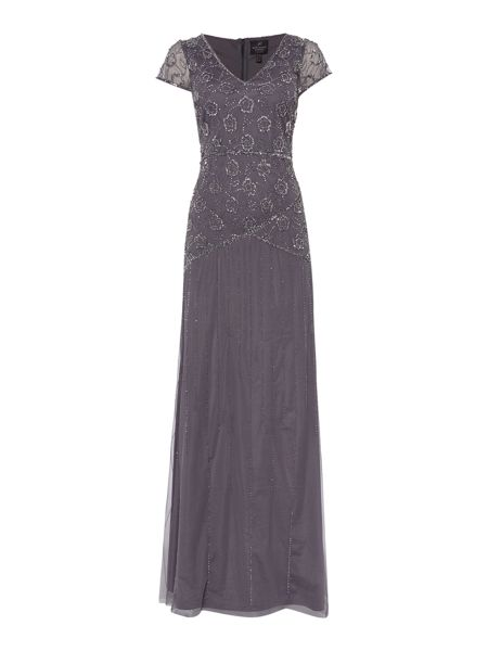 Adrianna Papell Floral beaded V neck gown with cap sleeve