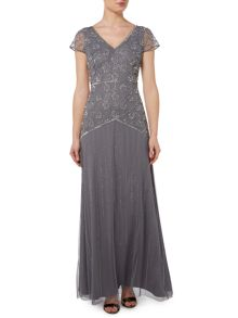 Floral beaded V neck gown with cap sleeve
