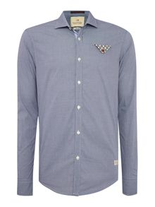 Scotch & Soda Micro Check Shirt With Contrast Folded Pocket