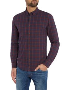 Ragular fit large check western shirt