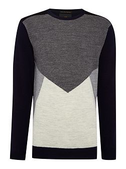 Pullover with knitted panels