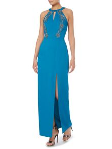 Halter Neck Key Hole Embellished Top Maxi Dress