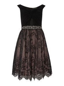Off Shoulder Knot Top Lace Skirt Dress
