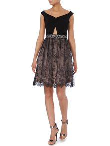 Little Mistress Off Shoulder Knot Top Lace Skirt Dress