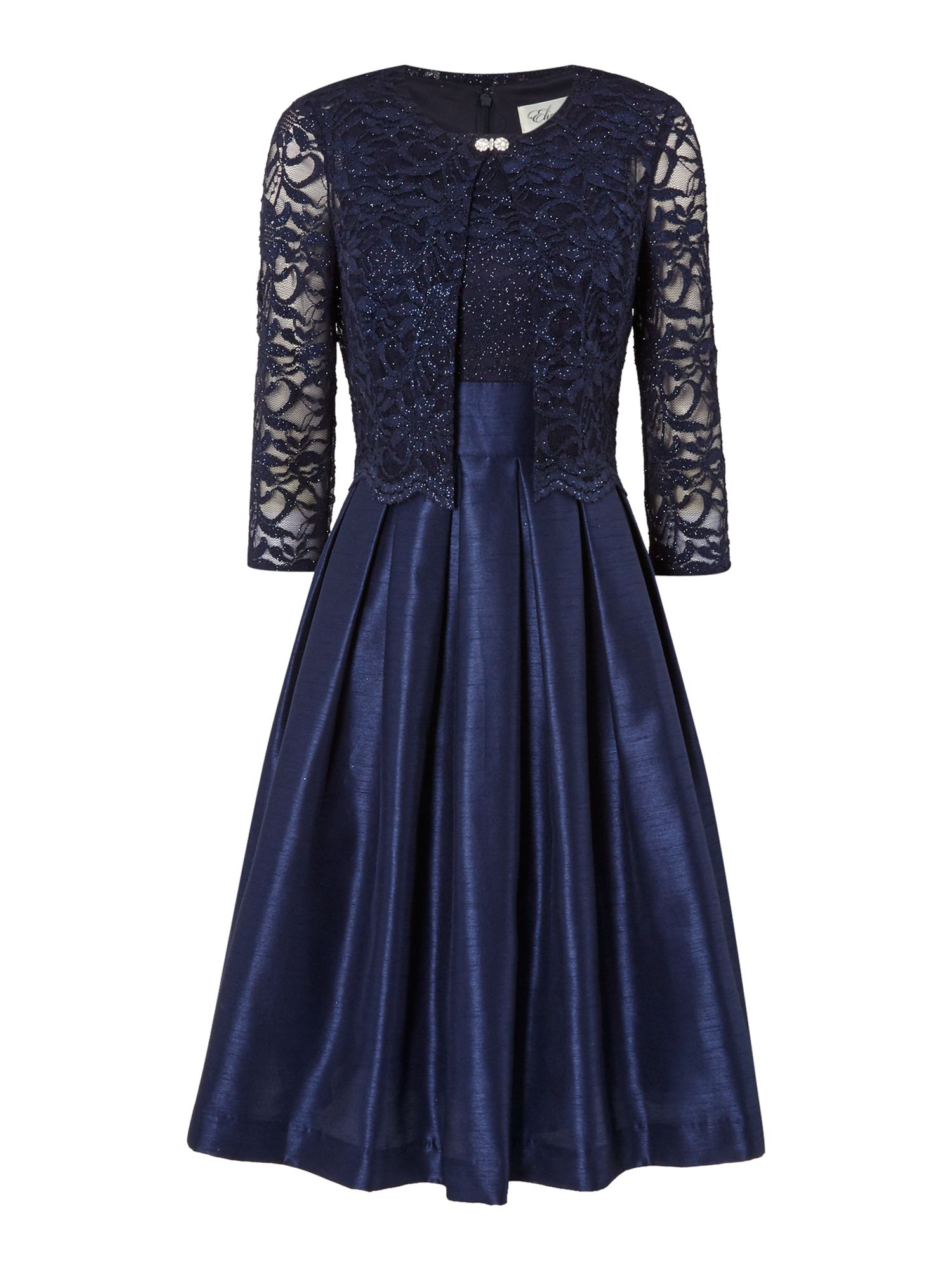Eliza J Two Piece With Fit And Flare Skirt, Navy