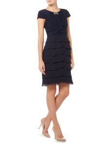 Eliza J Shutter dress with rouched beaded neckline