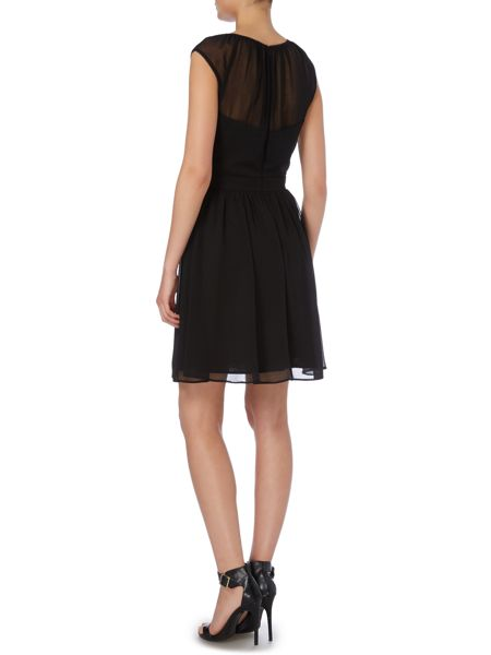 Elise Ryan Sleeveless Chiffon Skater with Lace Dress