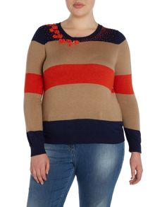 Amburgo striped embellished jumper