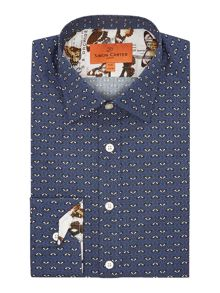 Leaf Line Pattern Regular Fit Shirt