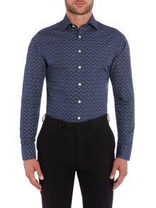 Simon Carter Leaf Line Pattern Regular Fit Shirt