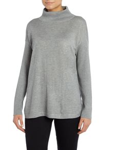 High neck rib sleeve jumper