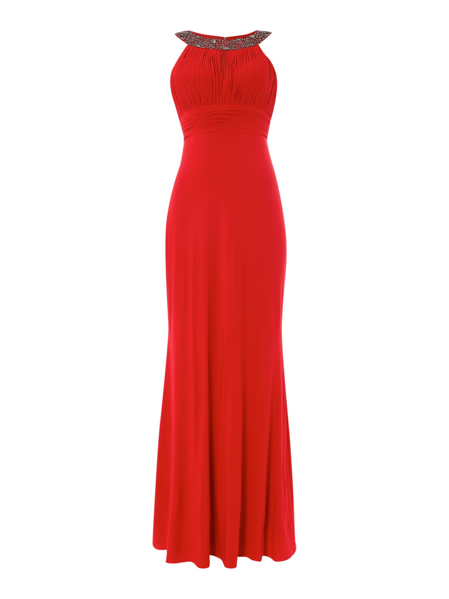 JS Collections Crystal Neck Halter Dress, Red