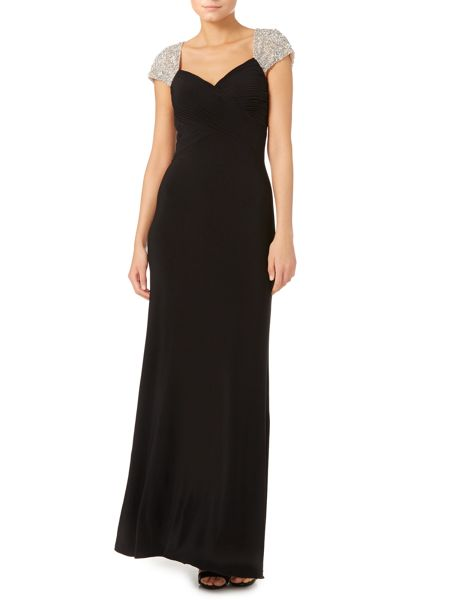 JS Collections Jewel cap sleeve rouched evening dress