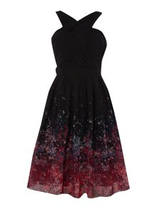 Little Mistress Sleeveless Printed Fit and Flare Dress