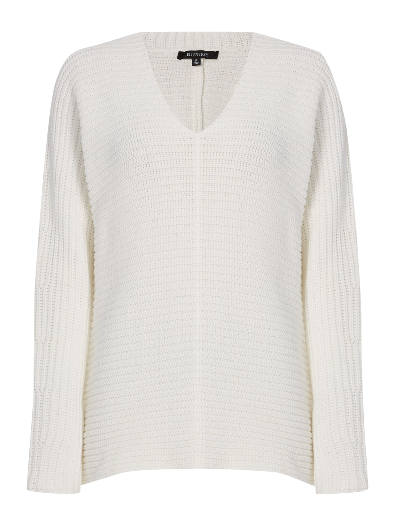 Ellen Tracy Ellen Tracy Deep v-neck knitted tunic, Off White