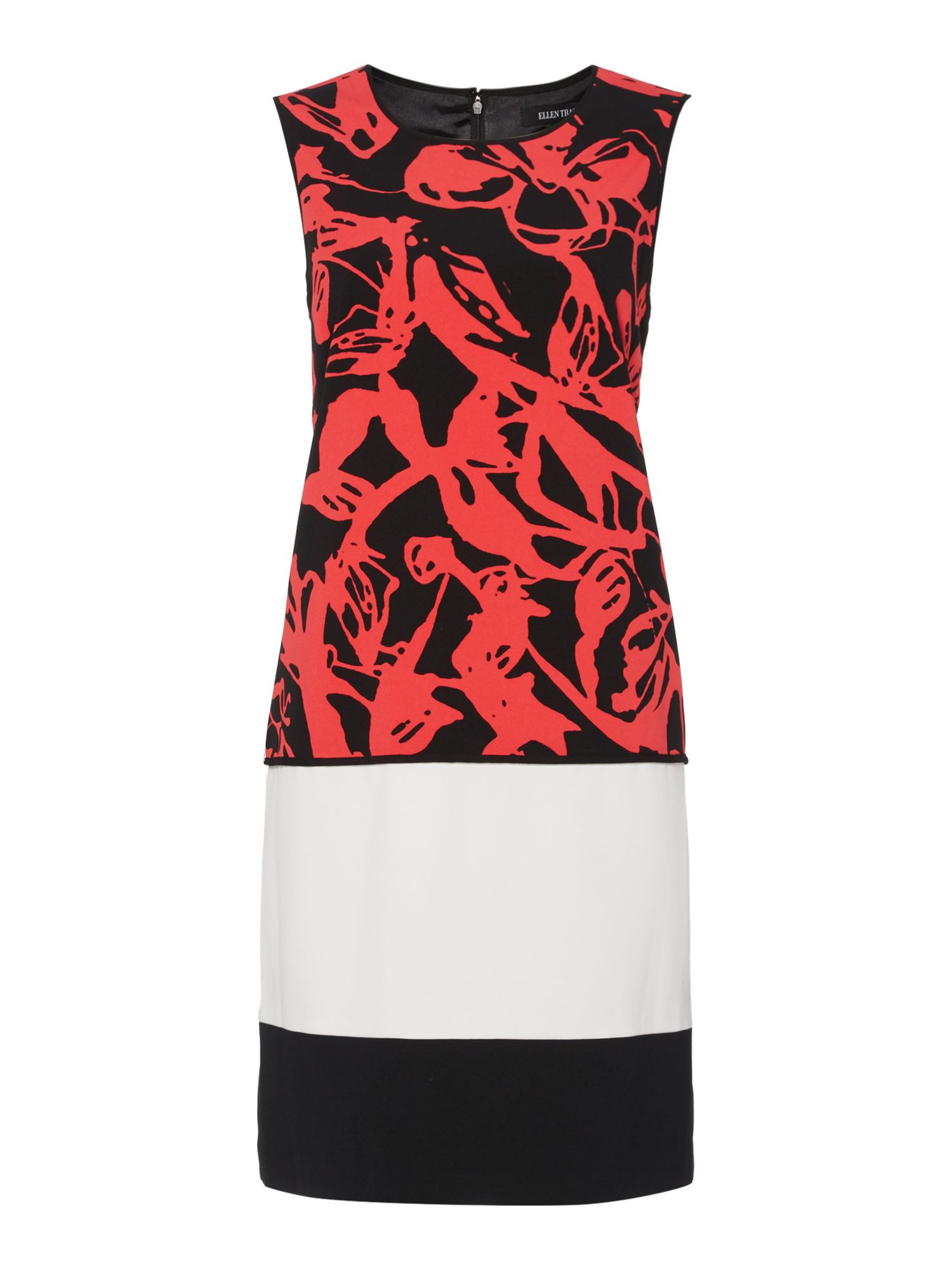 Ellen Tracy Double crepe colourblock sheath dress, Multi-Coloured