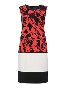 Ellen Tracy Double crepe colourblock sheath dress