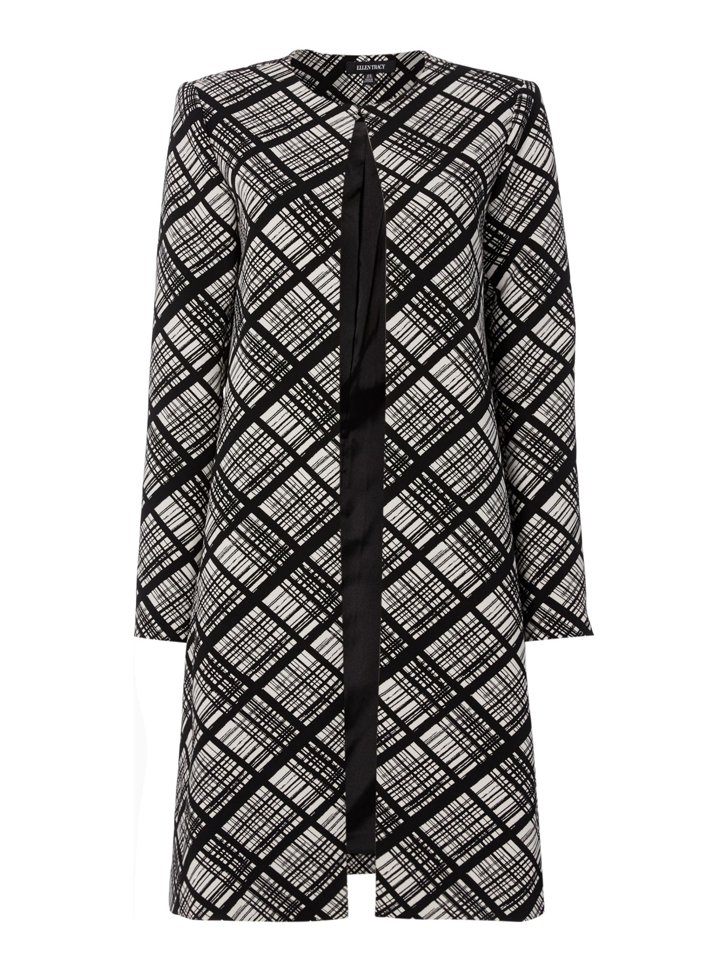 Ellen Tracy Double crepe coat, Black/White