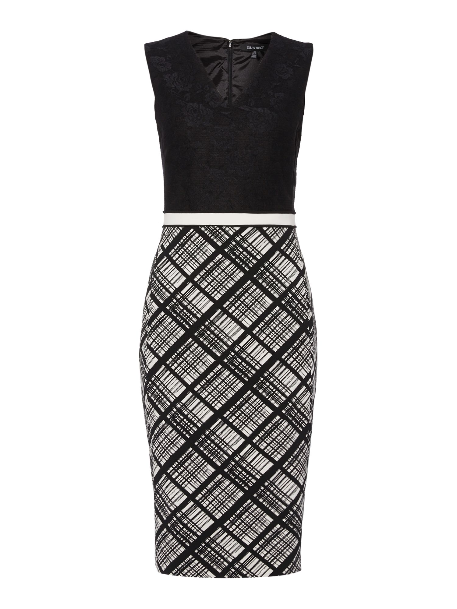 Ellen Tracy Bonded lace fitted dress, Black/White