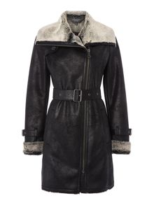 Andrew Marc Shearling style wrap coat with belt