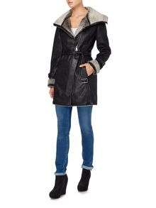 Shearling style wrap coat with belt