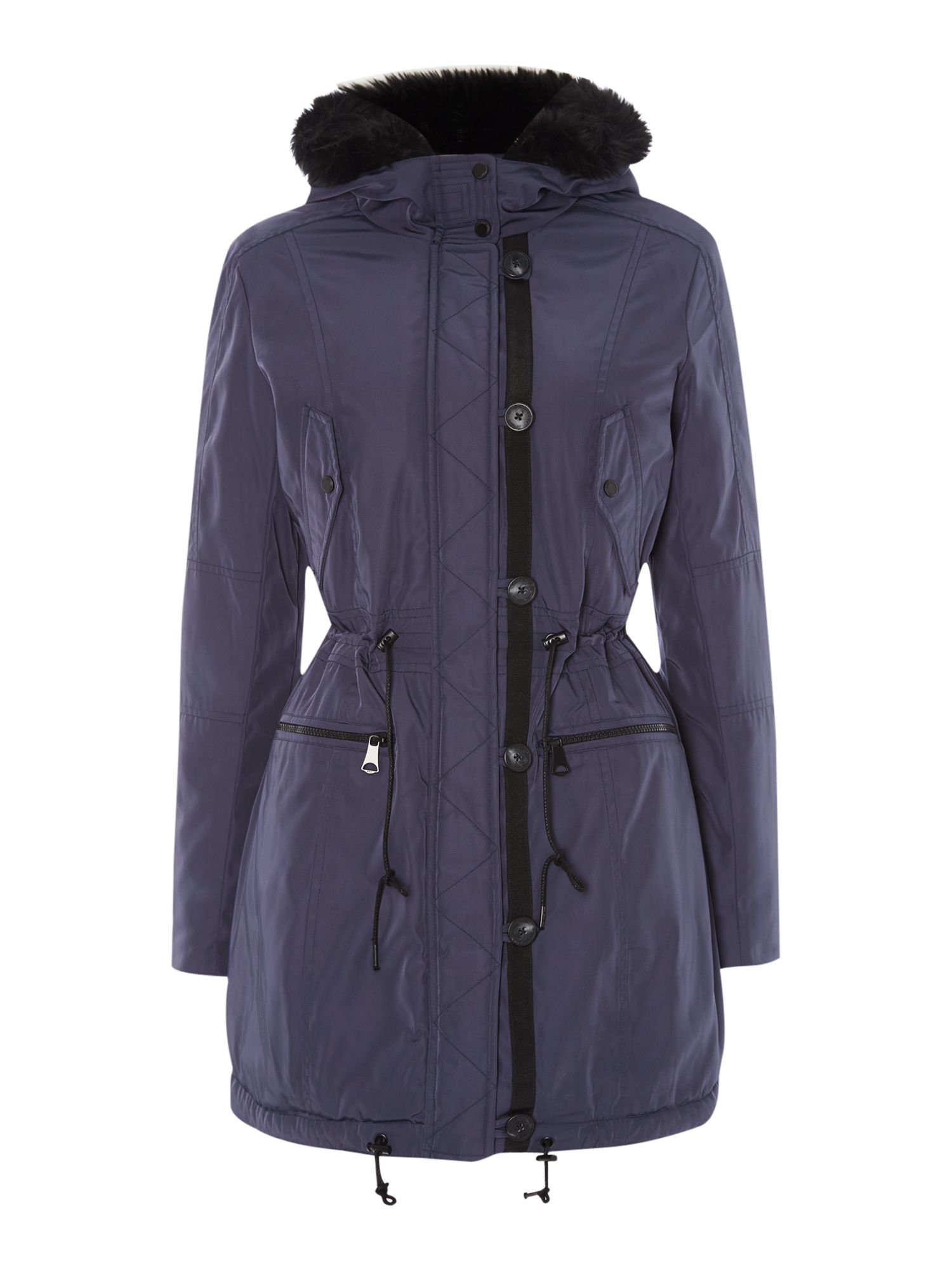 Andrew Marc Parka Style Coat With Faux Fur Lining, Navy