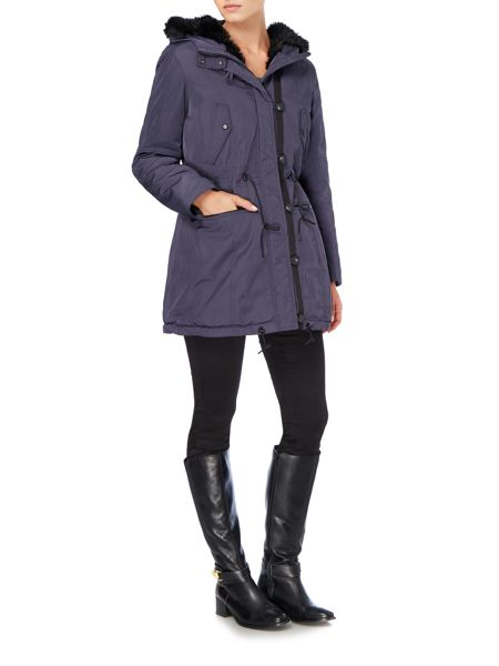 Andrew Marc Parka style coat with faux fur lining