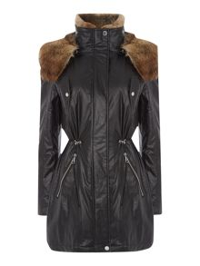 Andrew Marc Parka style wax coat with faux fur lining
