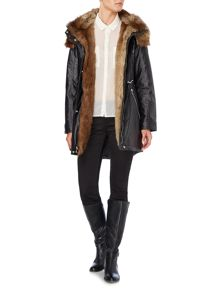 Parka style wax coat with faux fur lining