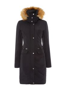 Long padded coat with matte finish