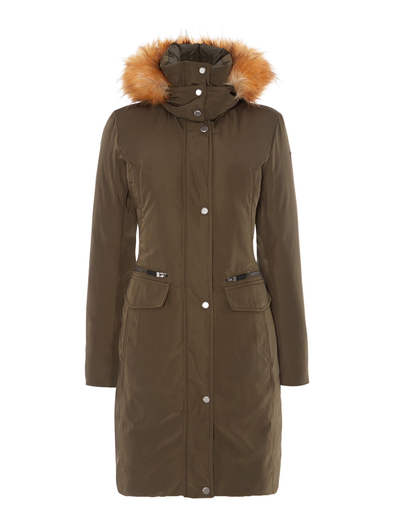 Andrew Marc Long Padded Coat With Matte Finish, Green