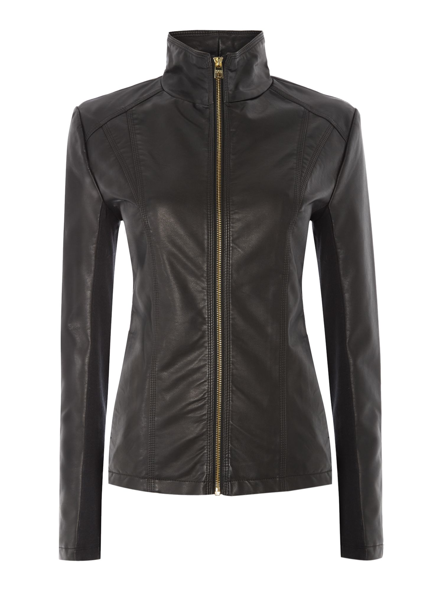 Andrew Marc PU jacket with central zip, Black