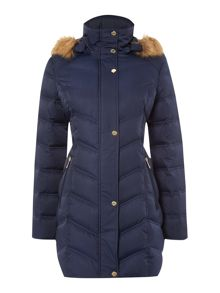 Kenneth Cole Long padded coat with fur hood