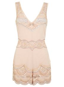 Nude embellished playsuit