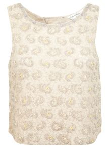 Cream embellished lace top