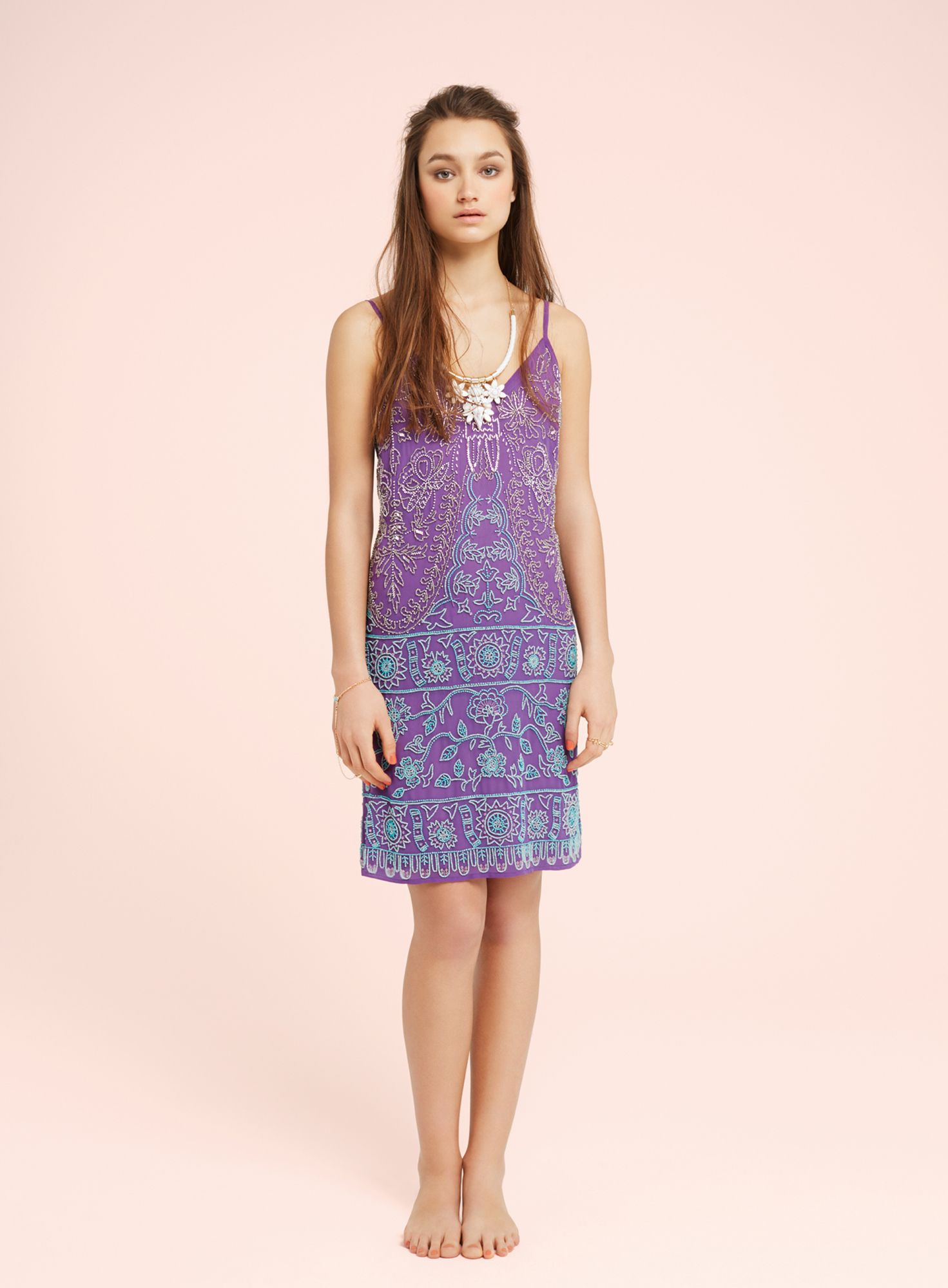 Purple embellished slip dress