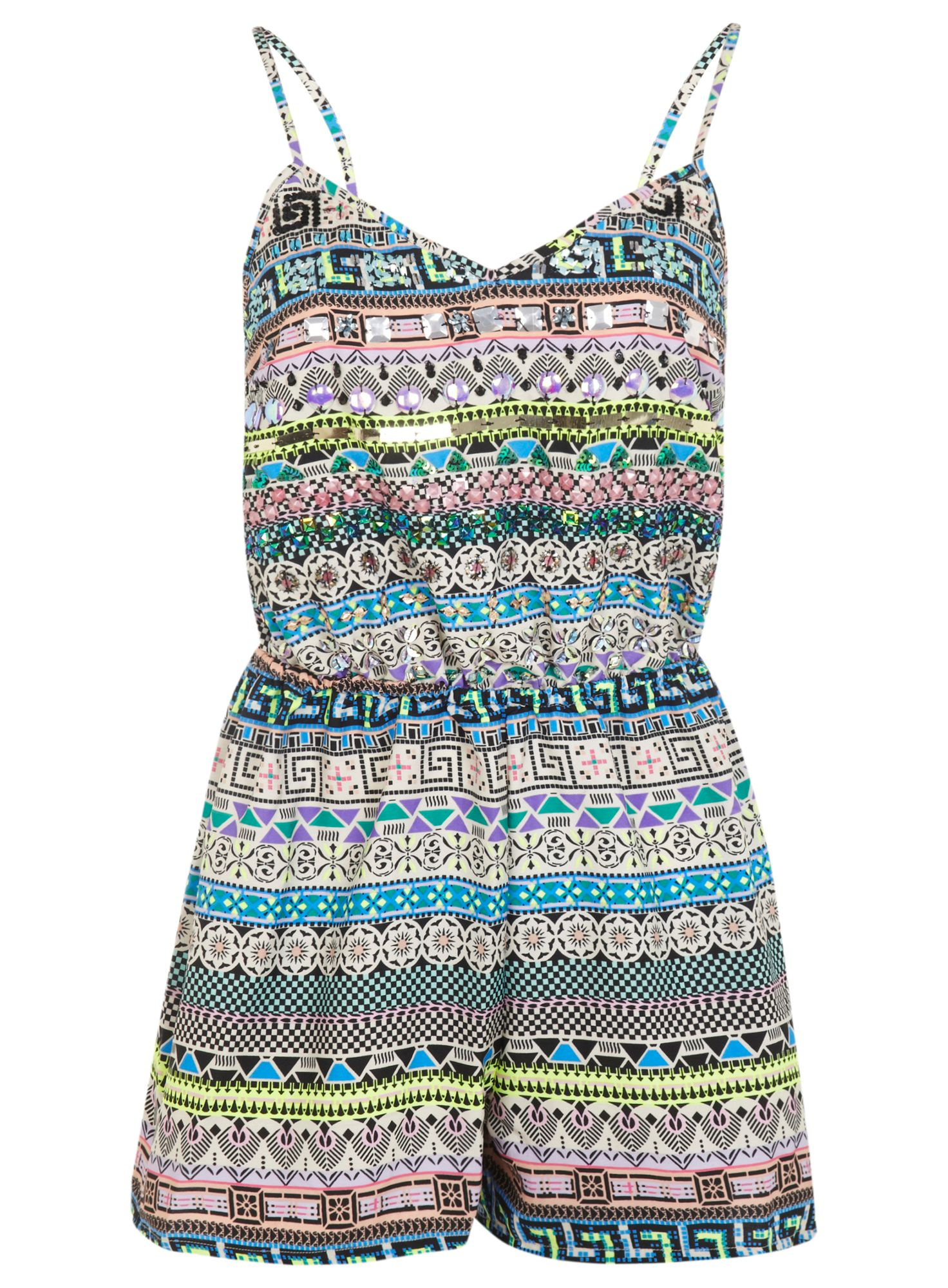 Embellished aztec playsuit