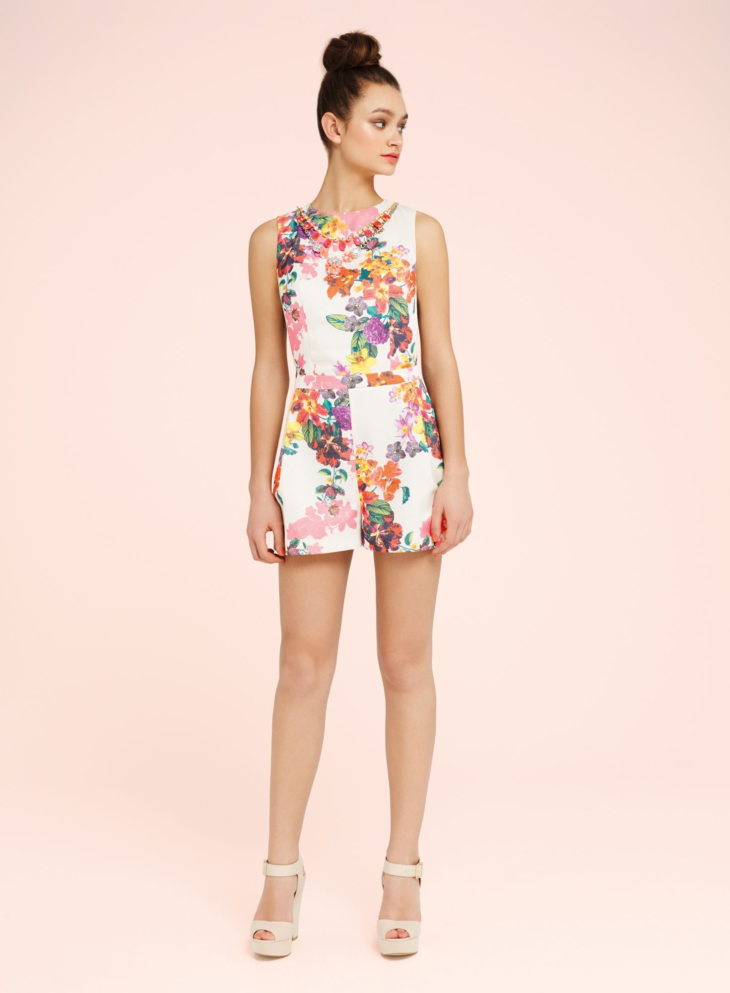 Floral trim playsuit